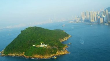 Aerial view Lighthouse on Island Hong Kong — Stock Video