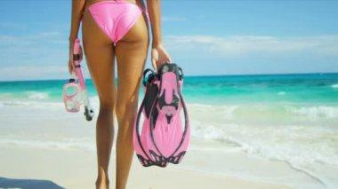 Lower Body Beach Girl Holding Snorkel Fins Mask — Stock Video