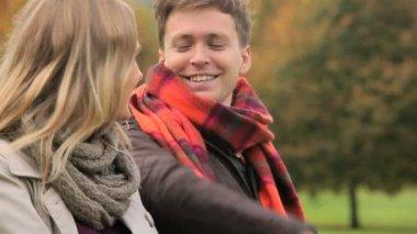 Caucasian Couple Autumn Day — Stock Video