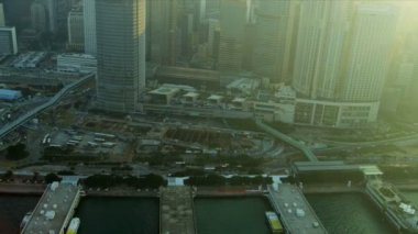 Aerial View Victoria Harbour Hong Kong — Stock Video