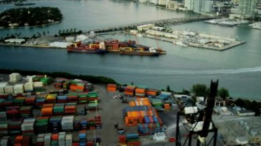 Aerial view Port of Miami container seaport — Stock Video