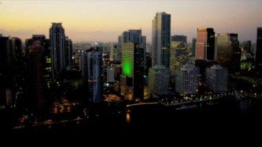 Aerial illuminated view sunset Miami City — Stock Video