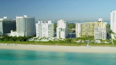 Aerial view South Beach Miami hotels — Stock Video