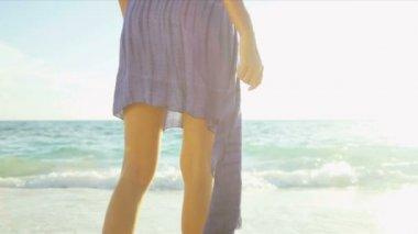 Close Up Female Upper Legs Waist Wearing Beach Swimwear Scarf — Stock Video