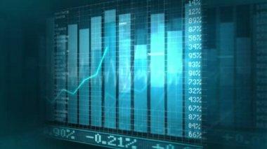 CG digital projection of stock market values — Stock Video