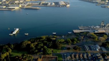 Aerial view Missouri Battleship — Stock Video