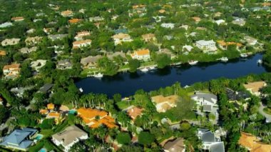 Aerial view residential  Coconut Grove South Miami — Stock Video