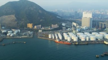 Aerial View of Oil Storage Terminal Hong Kong — Vídeo de stock