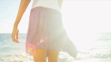 Legs Waist Female Beach Dressed Casual Swimwear — Stock Video