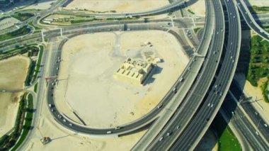 Aerial view desert expressway interchange  Dubai — Stock Video