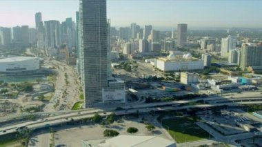 Aerial view American Airlines Arena, Miami — Stock Video