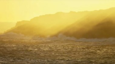 Evening Sunlight Lava Steam Coastal Waters — Stockvideo