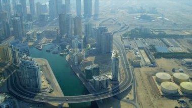 Aerial view skyscrapers Dubai Marina — Stock Video