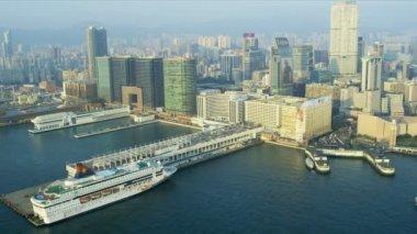 Aerial View Ocean Terminal Hong Kong — Stock Video