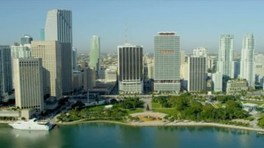 Bayfront Park Downtown Miami Financial District — ストックビデオ