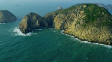 Aerial View Rocky Coastal Islands nr Hong Kong — Stock Video