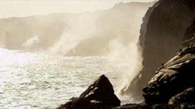 Billowing Steam Lava Falling Ocean Waves — Stock Video