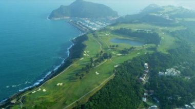 Aerial View Coastal Golf Course Hong Kong — Vídeo de Stock