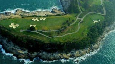Aerial View Coastal Golf Course Hong Kong — Stock Video