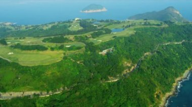 Aerial View Coastal Golf Course Hong Kong — Stock video