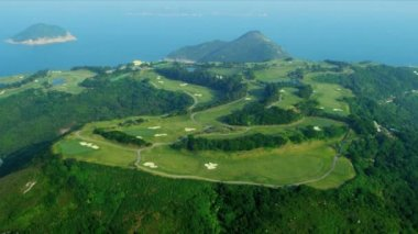 Aerial View Coastal Vacation Golf Course Hong Kong — Stock Video
