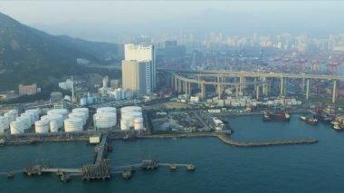 Aerial View of Oil Storage Terminal Hong Kong — Stock Video