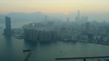 Aerial View at Sunset of Kowloon, Kowloon Bay — Stock Video