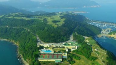 Aerial View Coastal Vacation Golf Course Hong Kong — Vídeo de Stock
