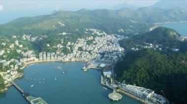 Aerial View of Yung Shue Wan Hong Kong — Stock Video
