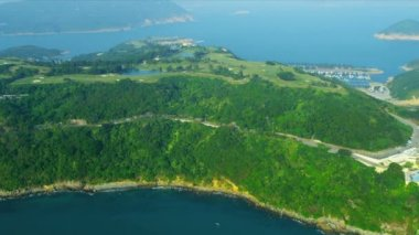 Aerial View Coastal Golf Course Hong Kong — Stockvideo