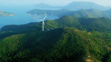 Aerial View of Wind Turbine  Hong Kong — Stock Video