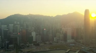 Aerial Sunset View Victoria Peak Harbour, Hong Kong — Stock Video