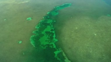 Aerial view of aqua coloured sea in shallow lagoon waters Biscayne Bay, Florida — Stock Video