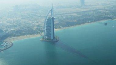 Aerial view Burj Al Arab Hotel Dubai — Stock Video