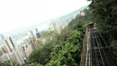 Funicular railway in Hong Kong — Stock Video
