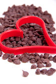 Chocolate Chip with Red Cookie cutter Heart — Stock fotografie