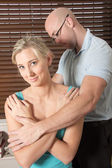 Chiropractor massage patient spine and back — Photo
