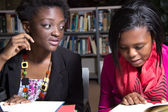African American Students in a College Library — Stock Photo