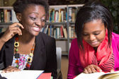 African American Students Playful in the Library — Stock Photo