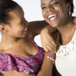 Two Black Best Friends laughing and joking — Stock Photo