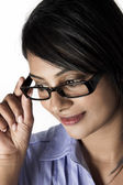 Side profile beautiful model frame glass — Photo