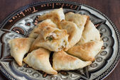 Pies of flaky pastry with meat — Stok fotoğraf