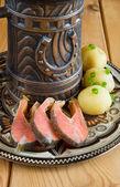 La truite, de bières et de pommes de terre — Photo