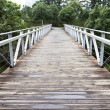 Wooden bridge and metal railings — Stock Photo