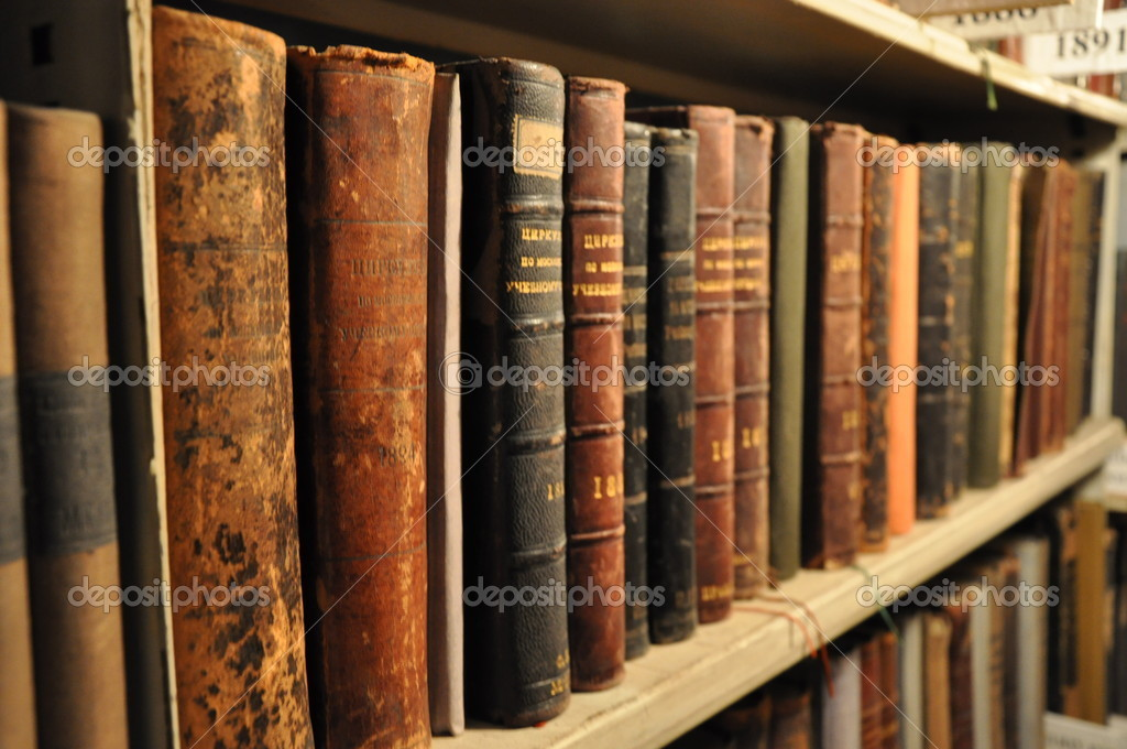 Vintage books in library  Stock Photo #14749349