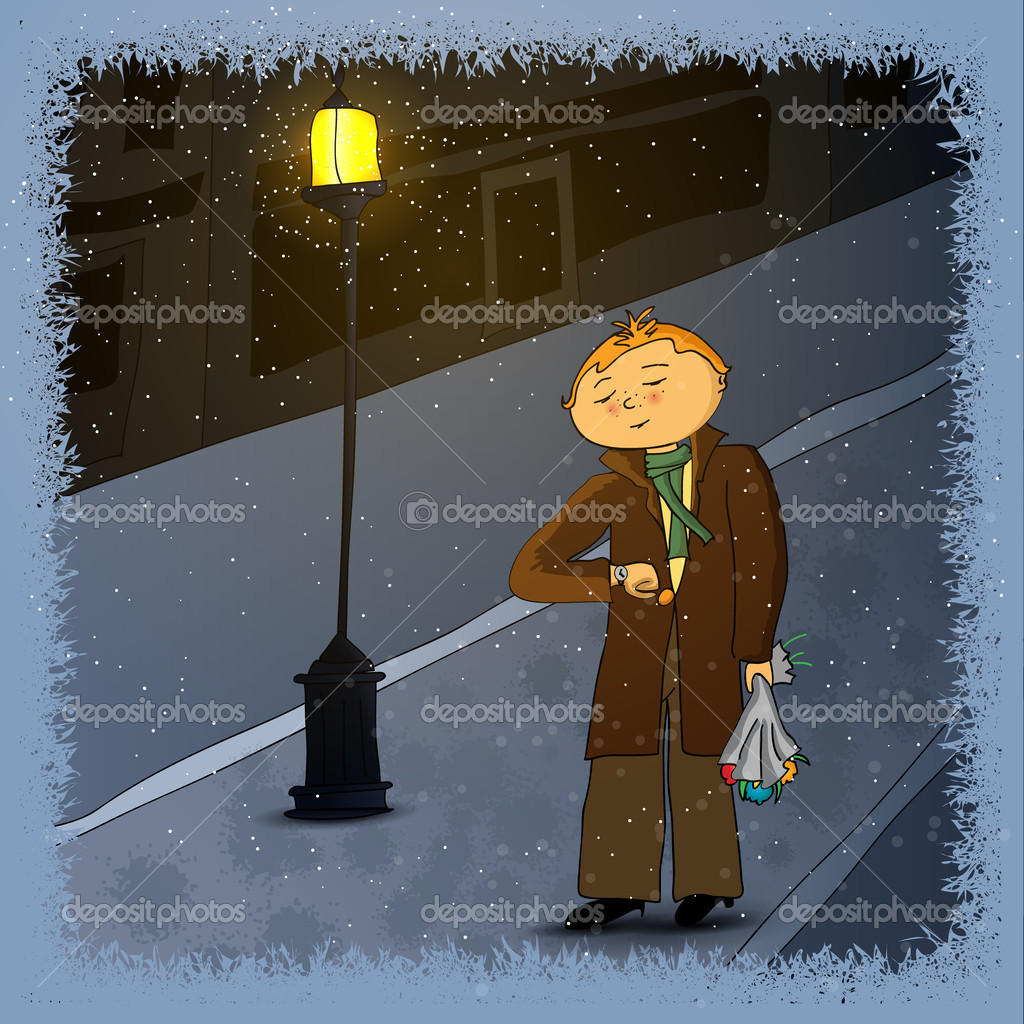 Young man waiting a girl for a date on a winter evening — Stock Vector #18356741