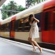 Woman misses train — Foto de Stock