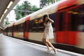 Woman misses train — Stock Photo