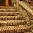 Stock Photo: Old brick stairs and columns
