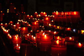 Red candles in church — Stok fotoğraf